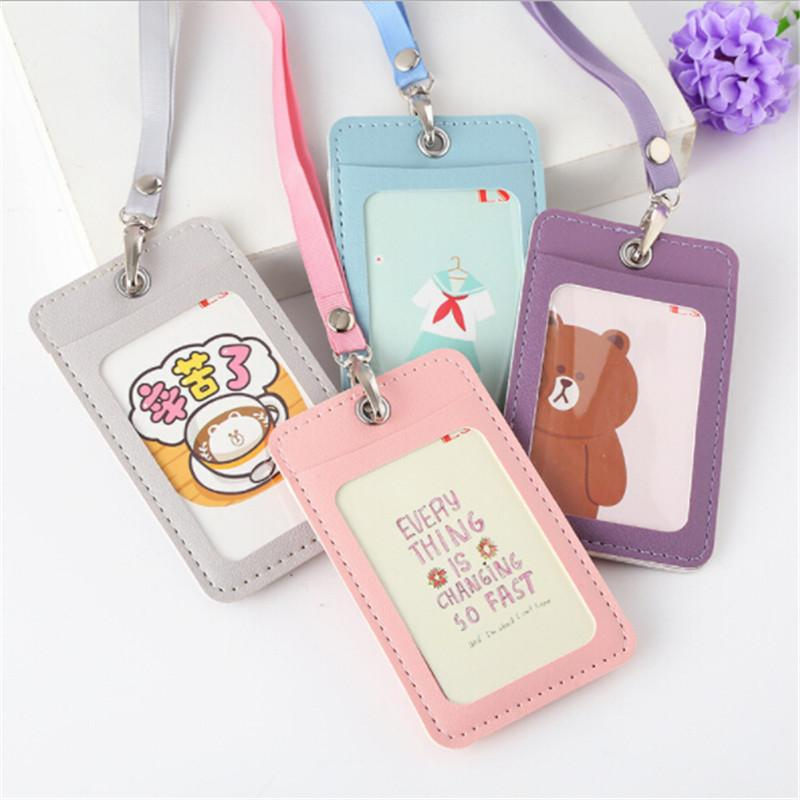 Cute Rabbit Door Work Identity Badge 2 Cards Cove Women Cartoon Candy  Leather Card Holder Students Bus Card Case Lanyard Girl Mens Bags Front  Pocket Wallet ... cd2863b973