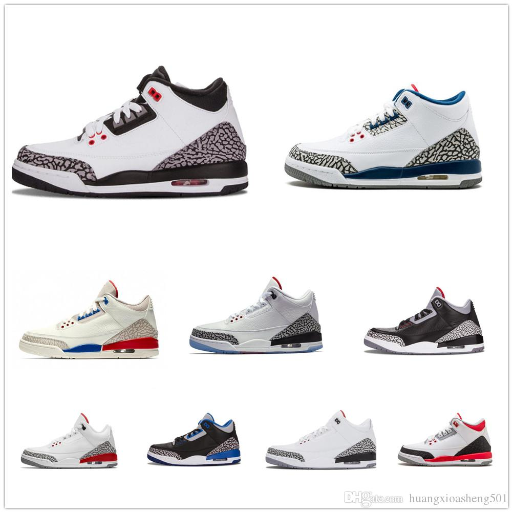 4f4ca8cdd8a2 2019 III Black White Cement Three Basketball Shoes Tinker Blue Hurricane  Red New 2018 Sneakers Retro Mens Trainers Size 7 13 Michael Sports From ...