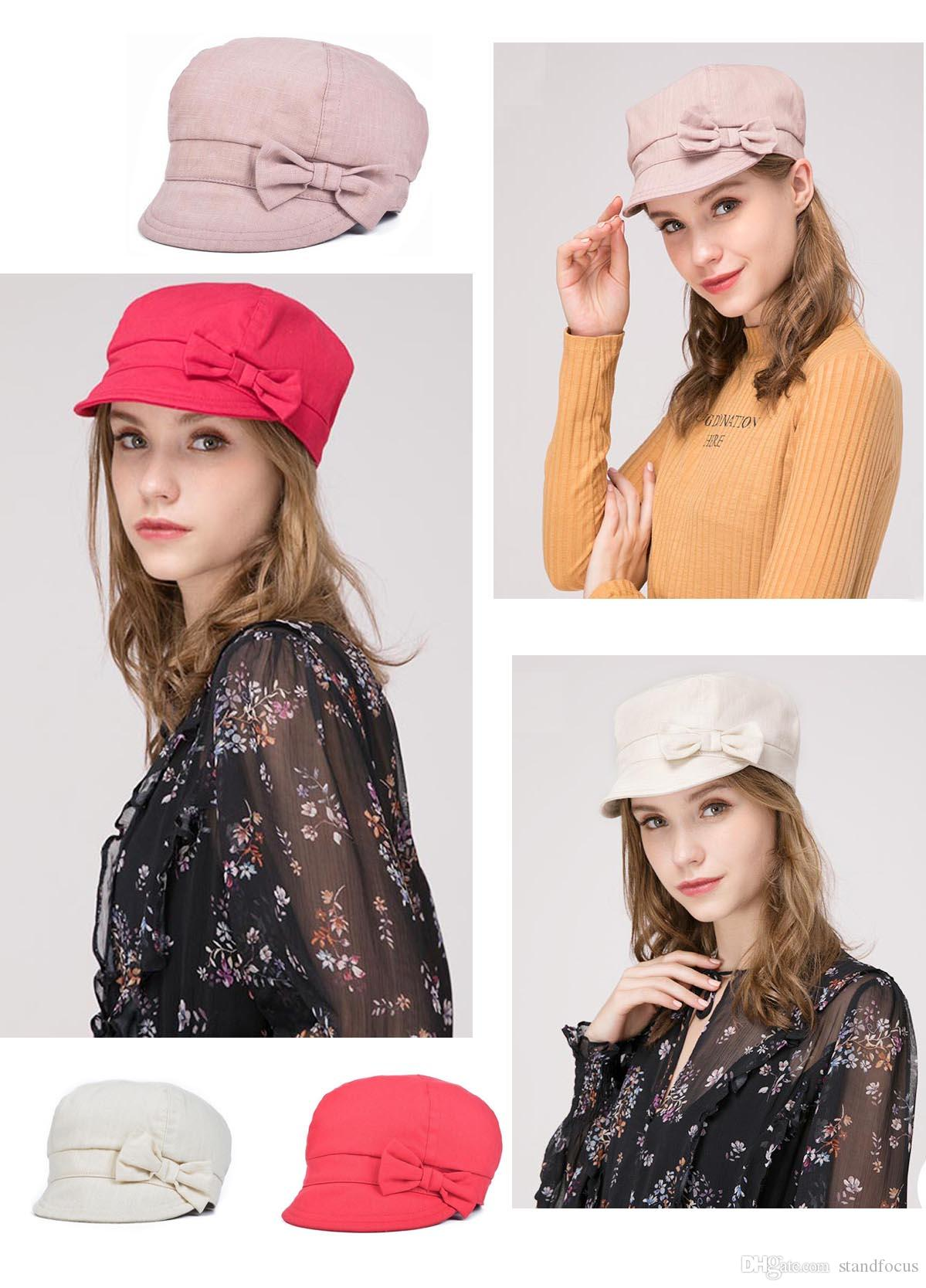 3112f97c8c8 ... Baker Boy Gatsby Women Hat Newsboy Cap Ladies Fashion Cotton Fabric  Spring Summer Fall Pink Cream Causal Chic Sweet Bow From Standfocus