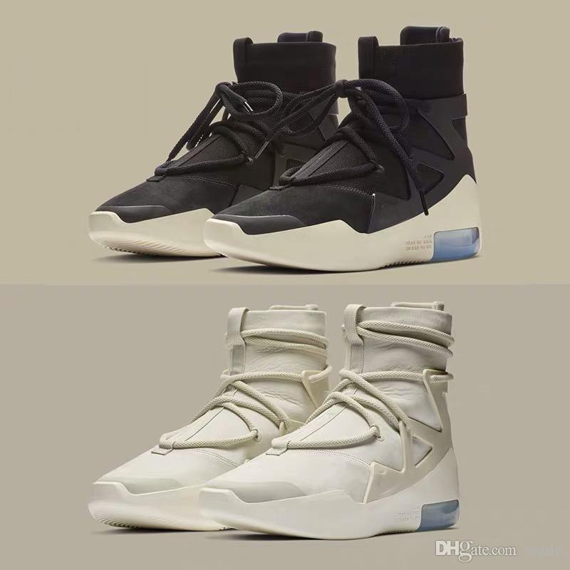 7b8a9a8de234 New Release Air Fear Of God 1 High Tops Boots FOG Shoes Light Bone Black  Sail Basketball Shoes Men Sports Zoom Sneakers AR4237 002 Canada 2019 From  Weile