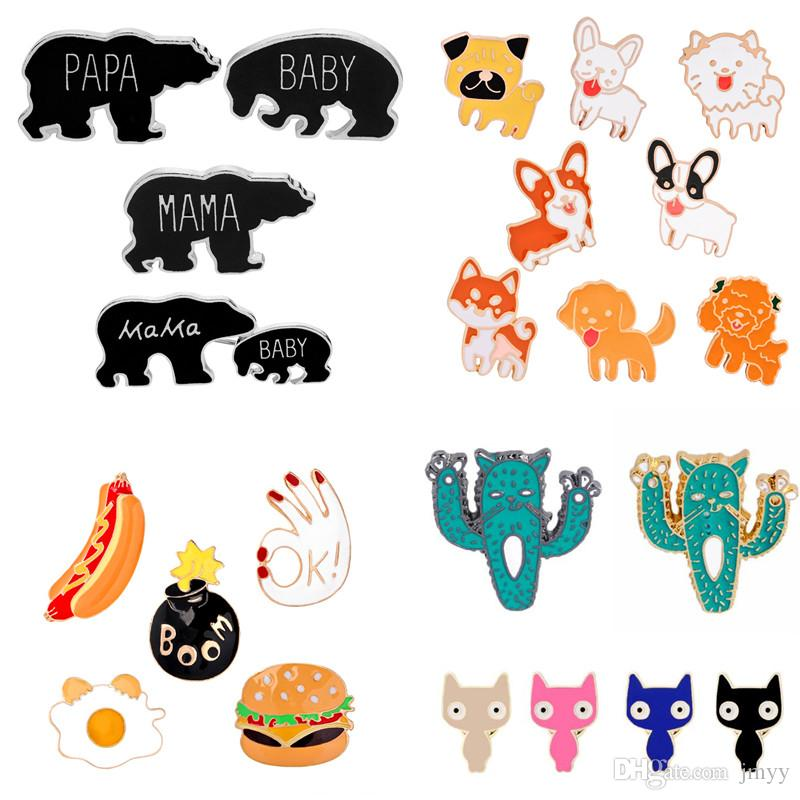 2019 New 188 Mix Cartoon Brooch Pin Badge Fruit Mama Bear Animals Skull Brooch Alloy Student Backpack Badge Kids Pins Jewelry For Gift