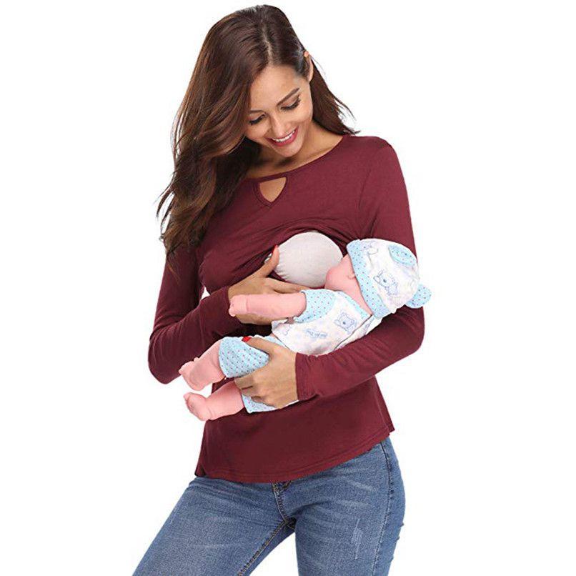 6f375a2cb1a0 Compre S XL Ropa De Maternidad Ropa Para Amamantar Mujeres Embarazadas  Maternidad Camisetas De Manga Larga Ropa De Enfermería Tops Blusa D18 A  $34.51 Del ...