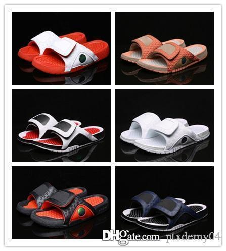 New 13 Hydro Slippers Men 13s Chicago Gym Red Black Slides Slippers Summer Beach Casual Flip Flops Fashion Sandals size 7-13