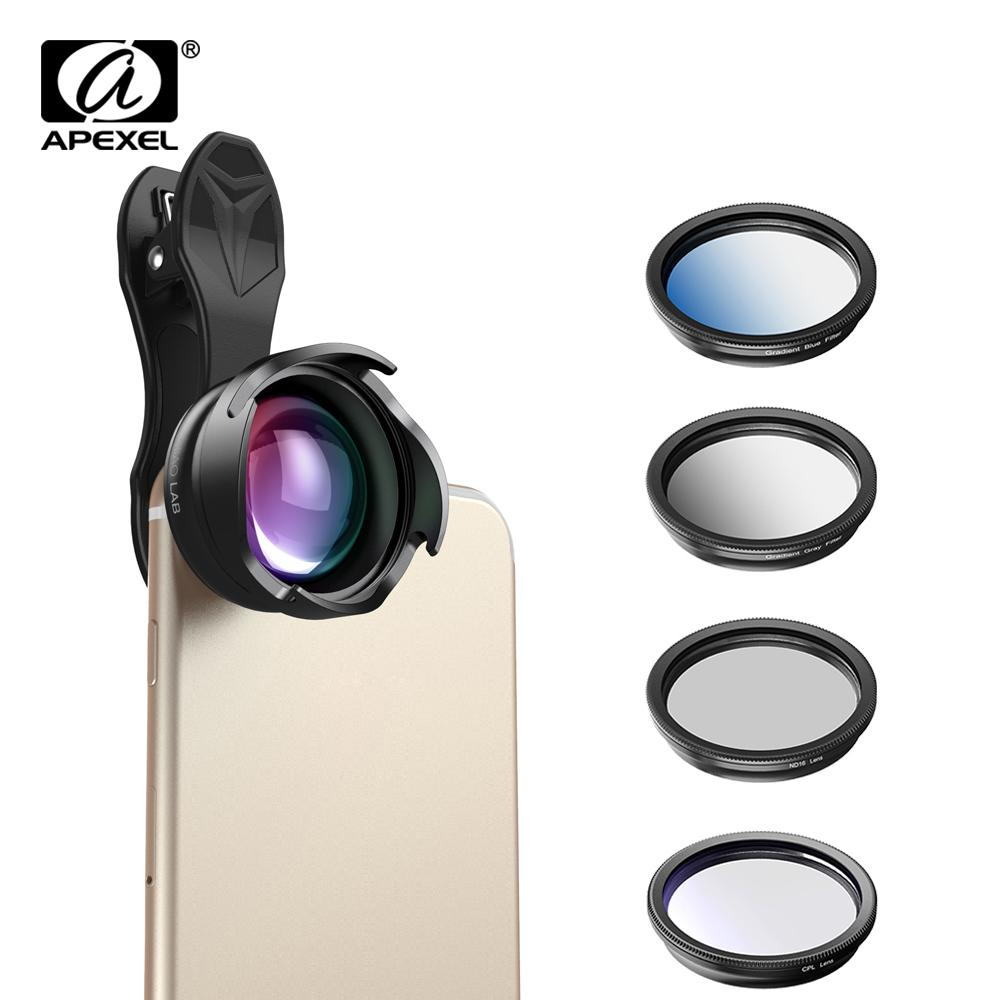 Apexel Phone Camera Lens 2.5x Telephoto Portrait Bokeh Lens With Cpl Gradual Filter Nd Filter For Android Ios Smartphone 70mm J190704