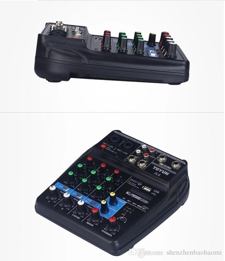 Portable Mini 4 Channels Digital Audio Interface Mixer Console with USB Bluetooth for Home Studio PC Computer Laptop