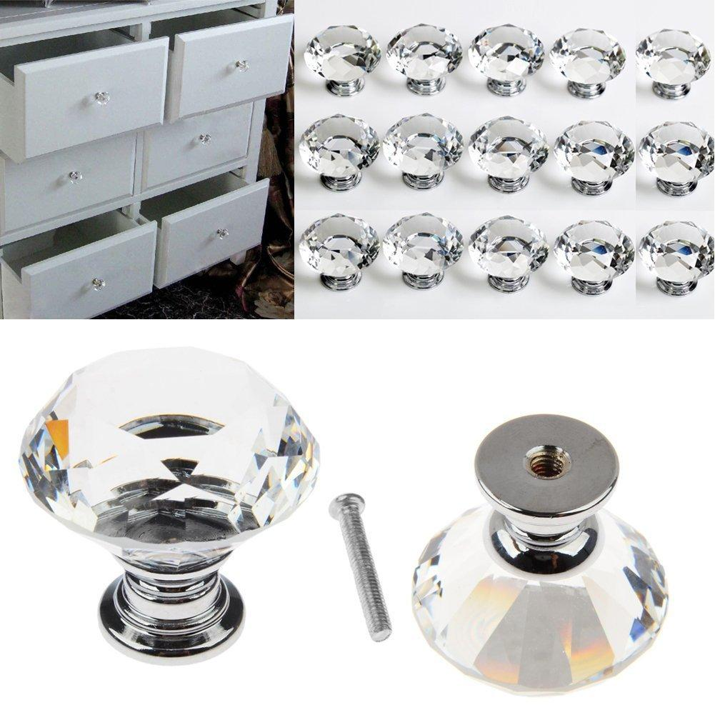 New Modern Fashion Furniture Glass Drawer Cabinet Single Hole Small Portable Household Transparent Crystal Handle 30MM