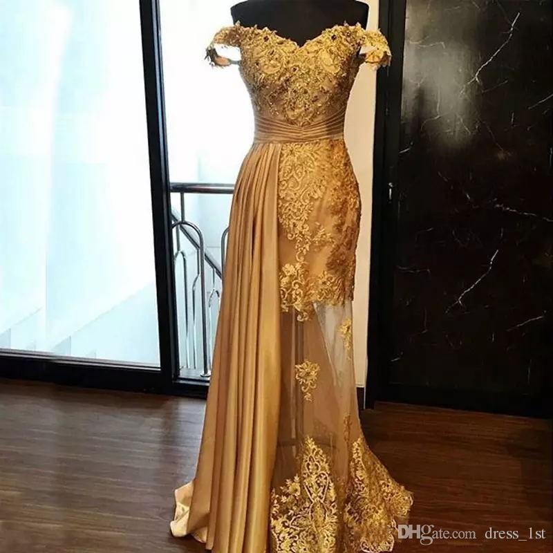 Vestidos largos de noche color oro
