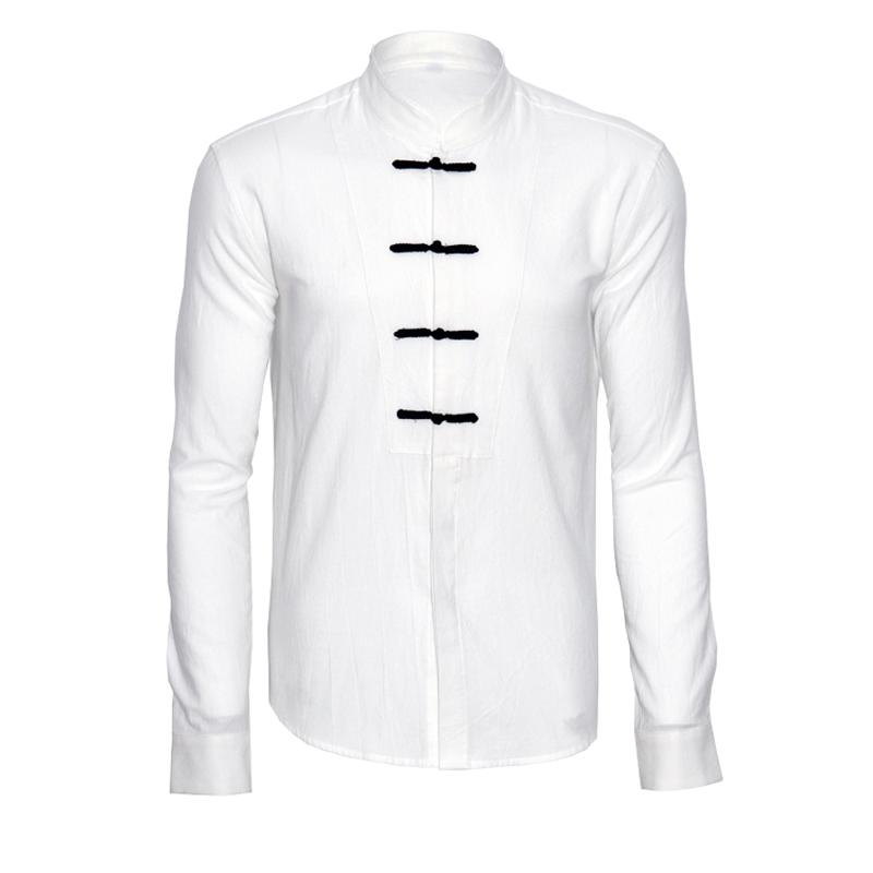 New Arrival Chinese National Style Male Solid Color Linen Shirt Stand Collar Plate Buttons Loose Shirts 3Colors