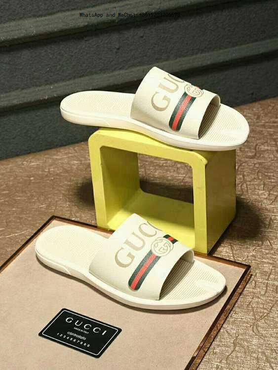 3d0552196 2019 Black Rubber Slide Sandal Slippers Green Red White Stripe Fashion  Design Men Classic Ladies Summer Flip Flops Luxury Brand Silver Shoes  Slipper From ...