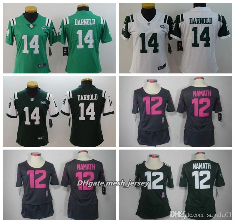 the latest 82dba b421a Women 56 Lawrence Taylor American Football Jersey 14 Sam Darnold 12 Joe  Namath Color Rush Stitching Jerseys