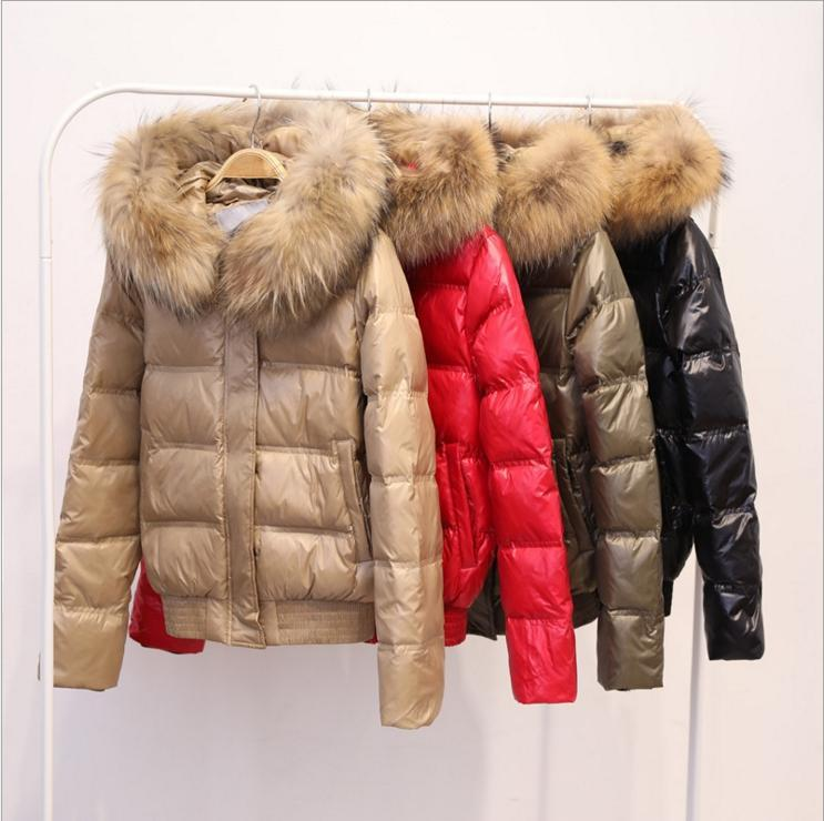 95e20e083 FTLZZ Hooded Real Raccoon Fur Winter Jacket Women Long Sleeve Slim ...