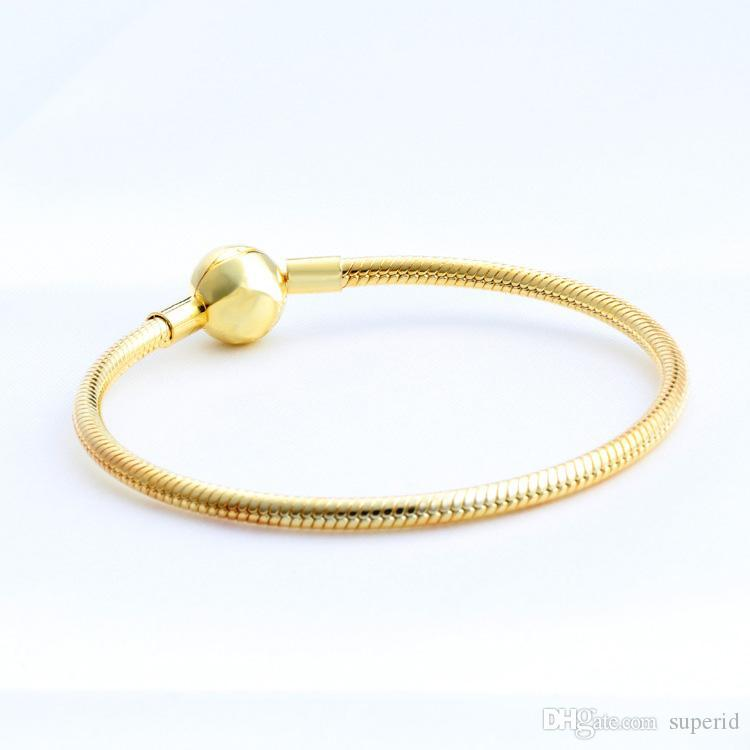 NEW Mens 18K Yellow Gold plated Ball Clips Bracelets Original Box Set for Pandora 925 Silver Snake Chain Bracelet for Women Wedding Jewelry