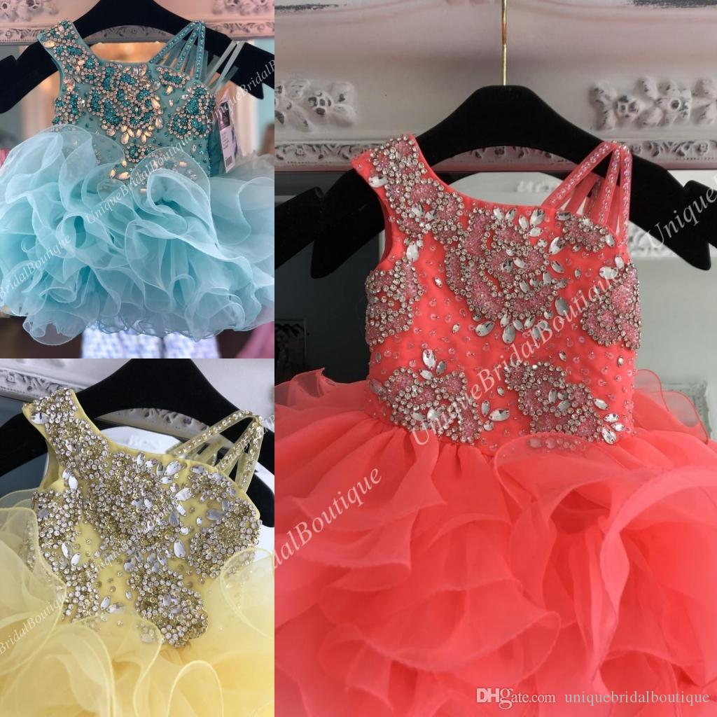 Little Miss Pageant Dress for Baby Girl Infant Toddler 2019 Straps Unique  Ruffles Cupcake Kids Pageant Dance Party Prom Gowns Coral Mint