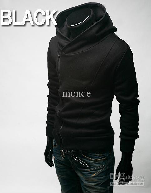 HOT monde Korea back to shool Oblique zipper Men's Hoodie men's Jacket men's Coat 4 colours black plus size mens coats
