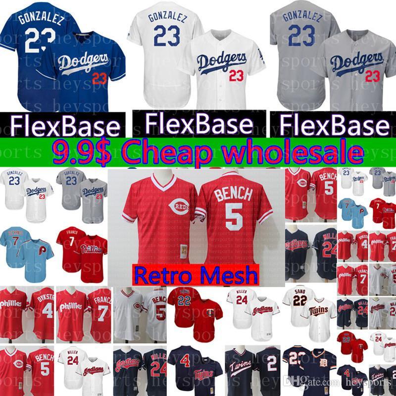 b24b3acefe0 Los Angeles Dodgers 23 Adrian Gonzalez Jersey Cheap wholesale 5 Johnny  Bench stitched Baseball Jerseys Blue White Grey