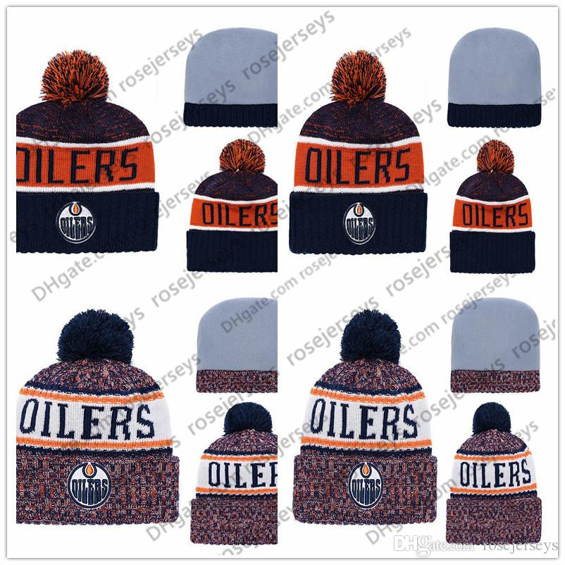 9f3a279d244843 2019 Edmonton Oilers Ice Hockey Knit Beanies Embroidery Adjustable Hat  Embroidered Snapback Caps Blue White Orange Stitched Hats One Size From  Rosejerseys, ...