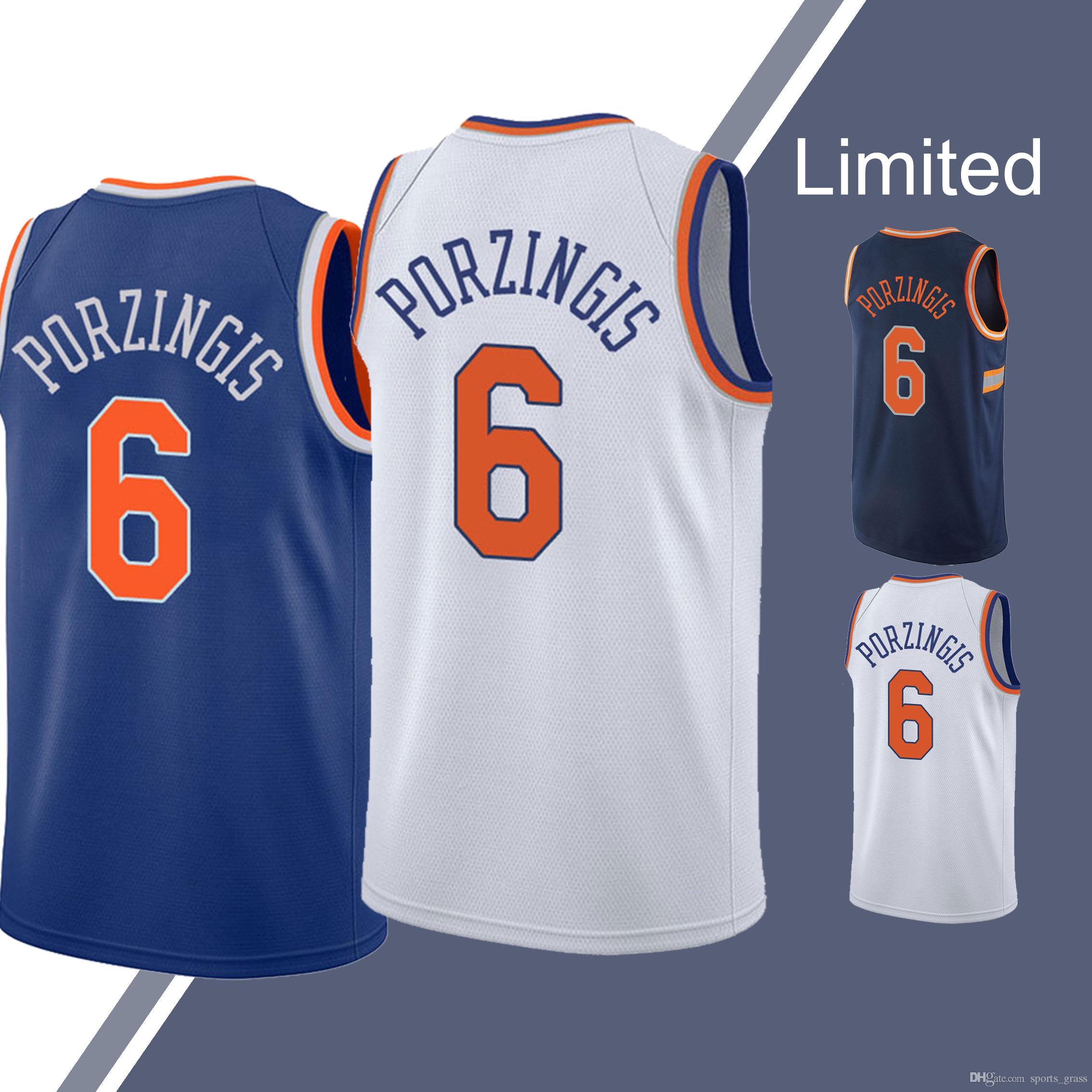 quality design 59661 b0e3f Kevin 20 Knox Jersey Knicks Kristaps 6 Porzingis Jerseys cheap hot sale men  top quality Basketball Jerseys