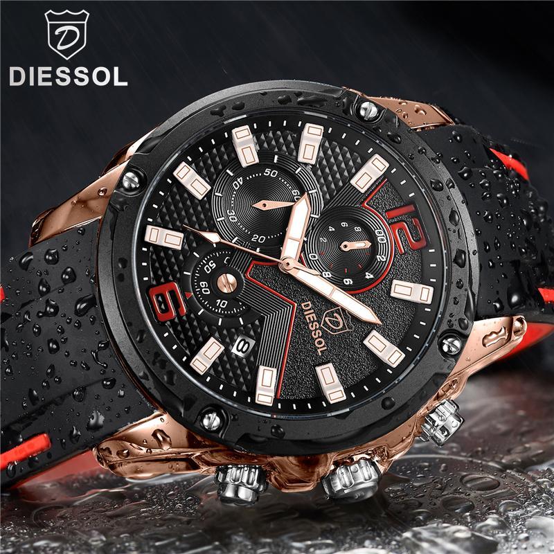 ec0f93630d2 Compre DIESSOL Mens Relógios Top Marca De Luxo Relógio De Quartzo Casuais  Homens Pulseira De Borracha À Prova D  Água Esporte Relógio De Pulso Relogio  ...
