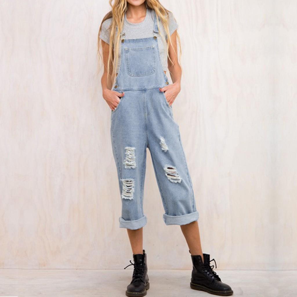 96bb645b88 Compre Botón De Mujer Pantalones Altos Pantalones Vaqueros Con Orificios  Rotos Otoño Algodón Botón Volar Mono Suelto A  31.28 Del Hannahao