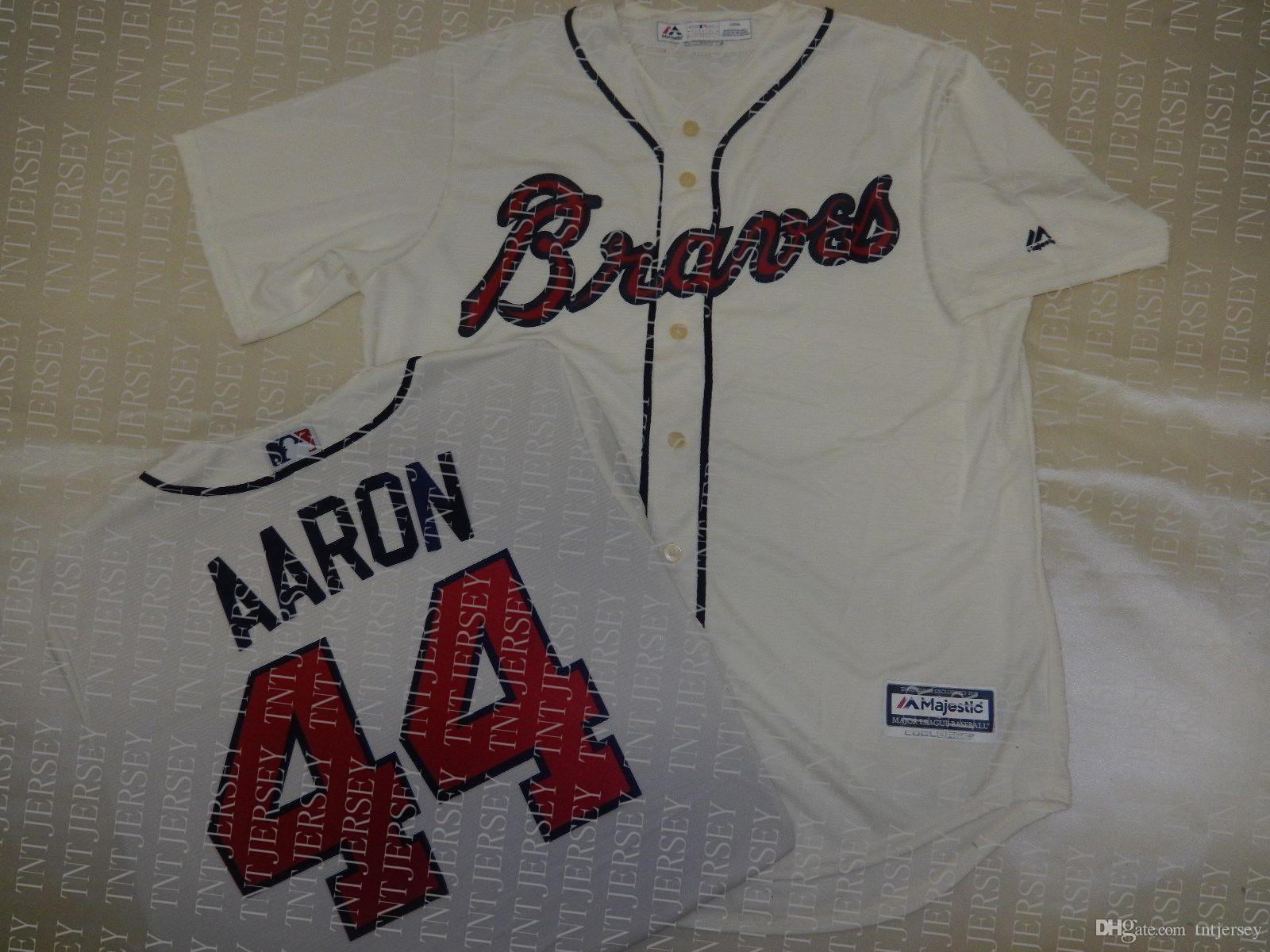 100% embroidery custom HANK AARON Baseball JERSEY CREME Stitch customize any number name MEN Jerseys XS-5XL NCAA JERSEY