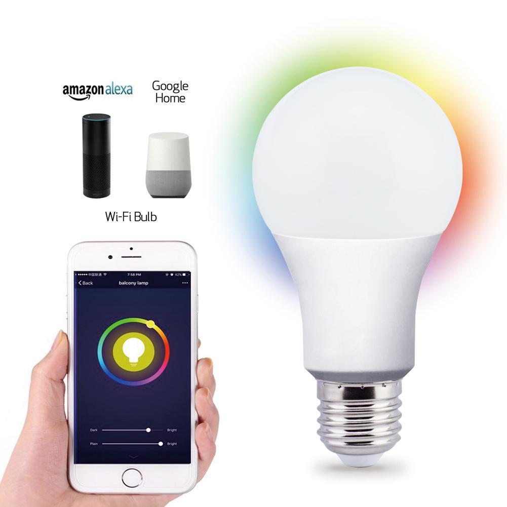 Lampadina nuovo Wireless lampada di illuminazione intelligente 2,4 Lampadina a casa 7W E27 magia RGB + cambiare il colore chiaro W LED dimmerabili IOS / Android