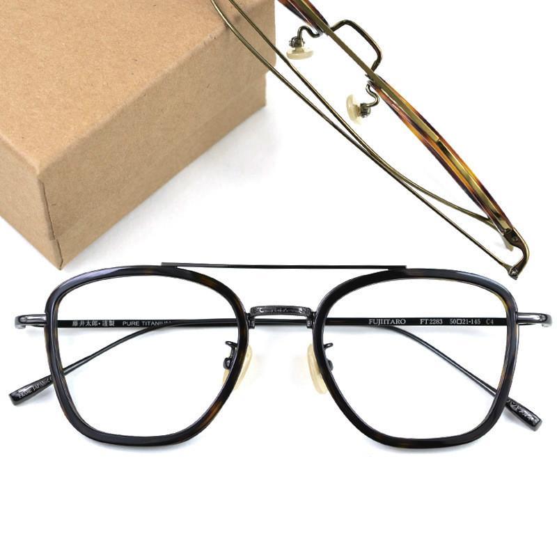 e10f4e98d43 Fujii Taro Ultralight Pure Titanium Square Glasses Frame Korean ...