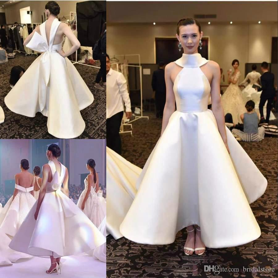 Simple Matte Stain Tea Length Evening Formal Dresses With Big Bow 2019 High  Neck Low Back Puffy Dubai Arabic Cocktail Prom Gown Childrens Prom Dresses  ... 82990fb31721