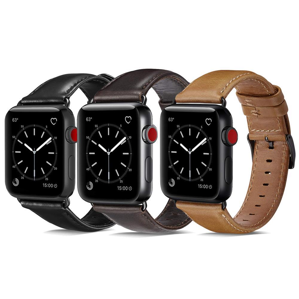83cba3f996a Compre Banda De Couro Genuíno Para Apple Watch 44mm 40mm Série 4 3 2 1 Marrom  Preto Iwatch Pulseiras De Couro De Cavalo Louco Pulseira Com Pin Fivela De  ...
