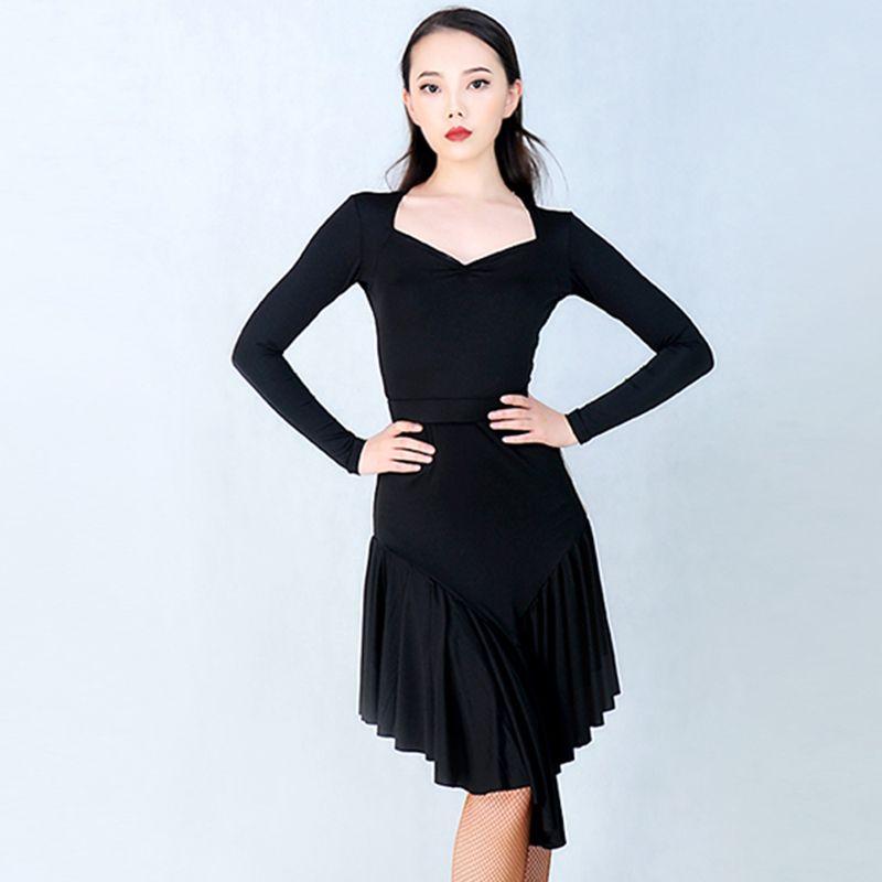 dc7dd0cbc187 2019 Black Latin Dance Dress Women Sexy High Splitting Tango Cha Cha Samba  Practice Wear Ballroom Rumba Performance Clothes DC1679 From Vanilla15, ...