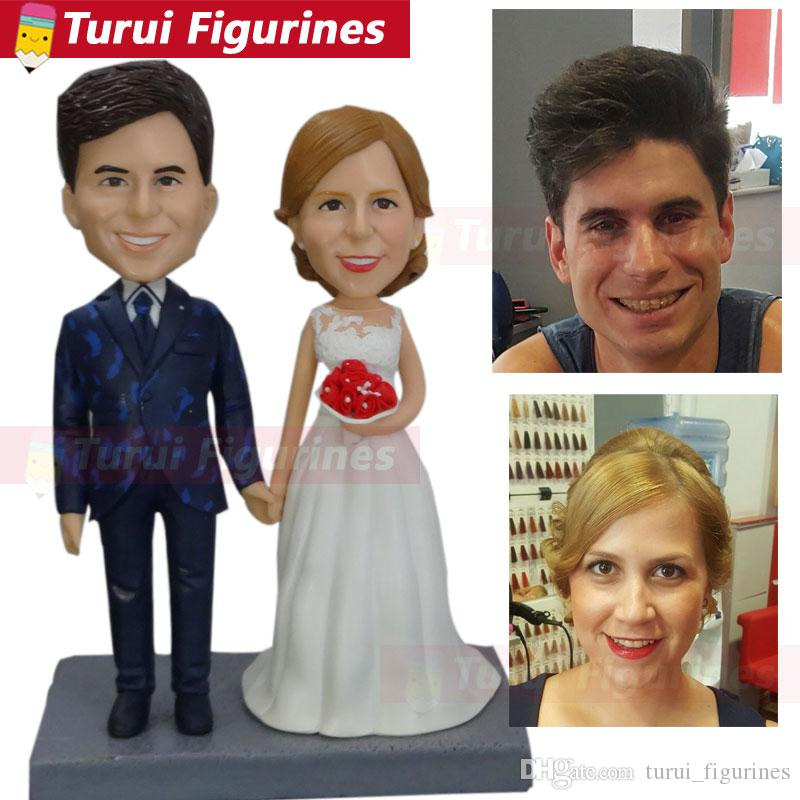 Custom made bobbleheads from photo wedding cake toppers silhouette  figurines 3d figurine of yourself unique gifts home decorations
