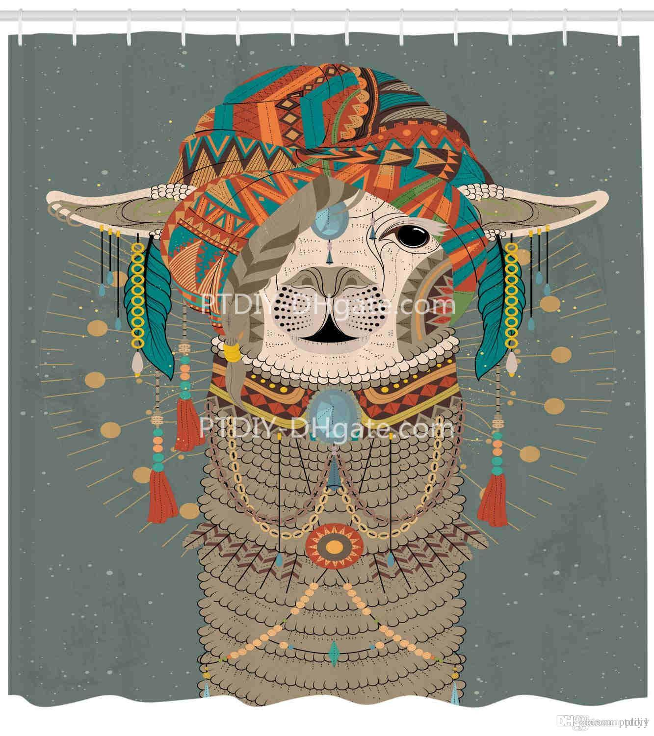 2019 Llama Shower Curtain Colorful Headwear Wearing With Accessories Earrings Necklace Abstract Animal Cloth Fabric Bathroom Decor Set From Ptdiy1
