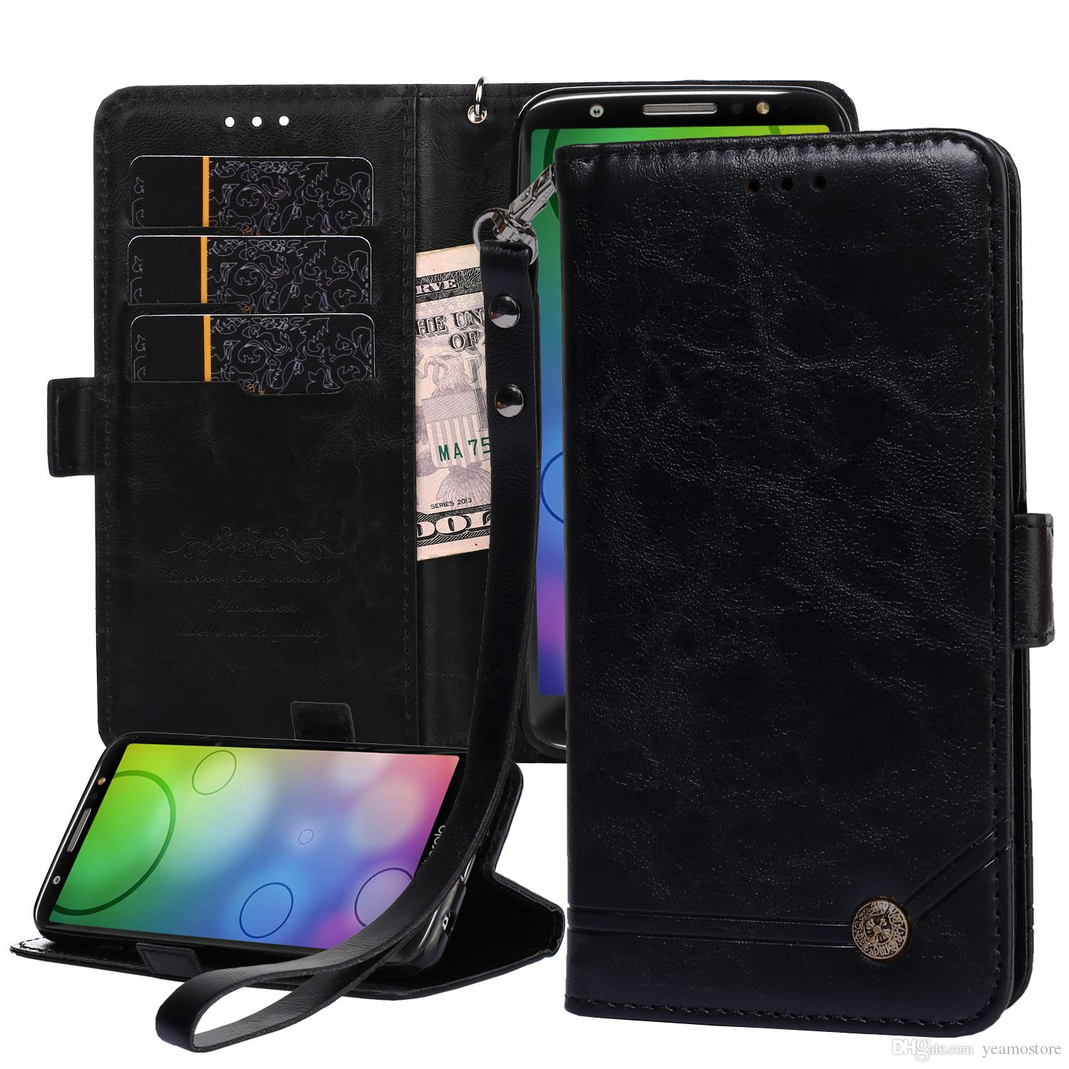 timeless design 79e4a 2d5fd Retro Luxury Wallet Case for Motorola Moto G6 2018 Moto Z3 play PU Leather  Flip Case Cover with Hang Rope