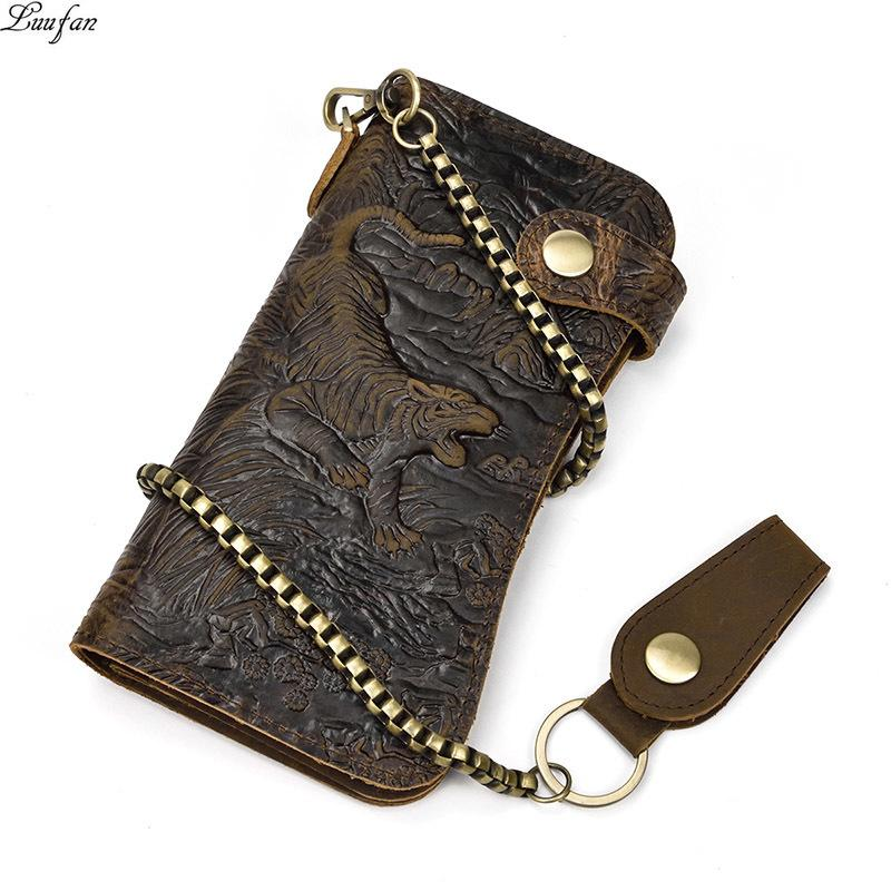 new styles 99c23 f9104 Men s Genuine Leather Wallet Chain Snap Bifold Purse Crazy Horse Leather  Card Case Phone Card Holder Clutch Tiger Dragon Wallet Y19052302