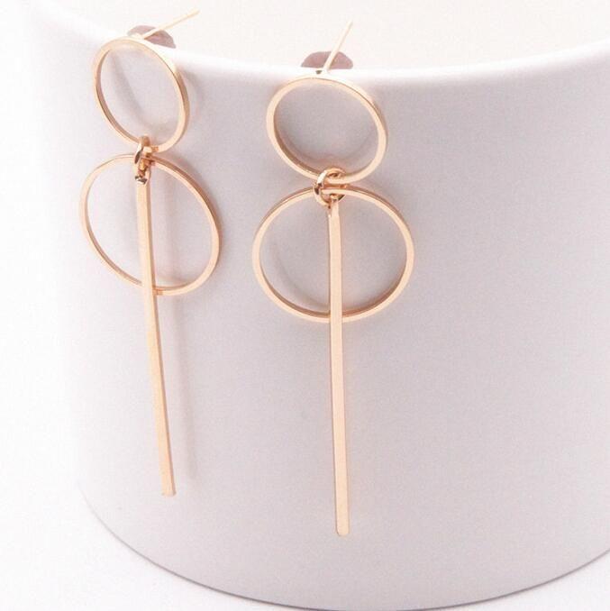 Nova moda elegante geométrica Rodada círculo brincos de argola dupla círculo vazio moda brincos para mulheres Exquisite presente E0204