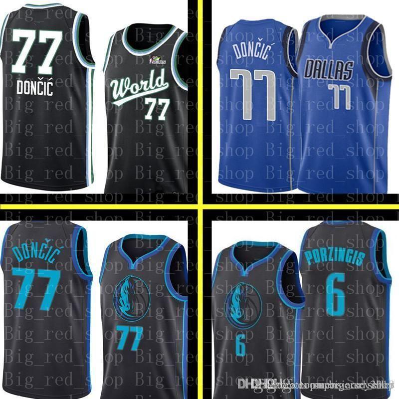 cdd5cde76 2019 Dallas Maverick Jersey Black Luka 77 Doncic Kristaps 6 Porzingis  Basketball Jerseys Retro Mesh Mavericks Blue Dirk 41 Nowitzki 77 Doncic  From ...