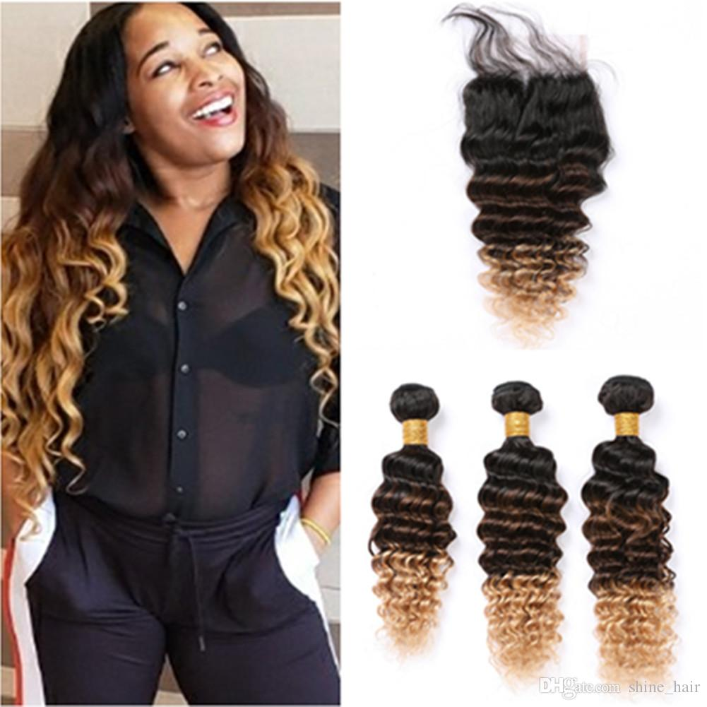 #1B/4/27 Honey Blonde Ombre Brazilian Human Hair Weaves 3Bundles with Closure 3Tone Ombre Deep Wave Lace Closure 4x4 with Weaves