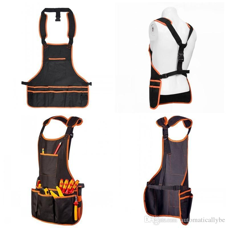 Outdoors Tool Apron Double Deck Oxford Black Color Multiple Pockets Garden Aprons Woodworking Tools Hot Sale
