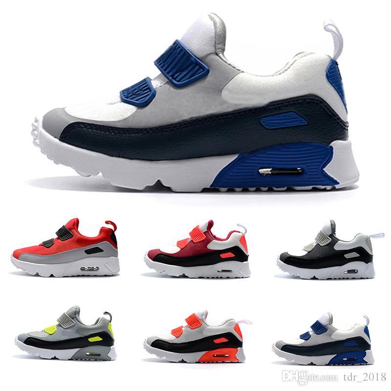 new york 932f4 61cb8 Acheter Nike Air Max 90 Chaussures Enfants Enfants Classique 90 Vt.  Chaussures De Course Pour Garçon Et Fille Noir Rouge Blanc Coussin Sportif  Pour ...