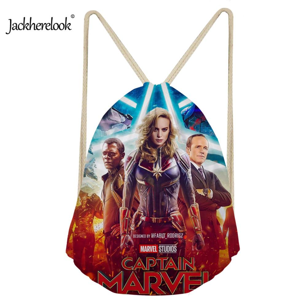 Jackherelook 2019 HOT Anime Captain Marvel Printed Kids Girls Drawstring Bags Small School String Cinch Backpack Storage Pocket