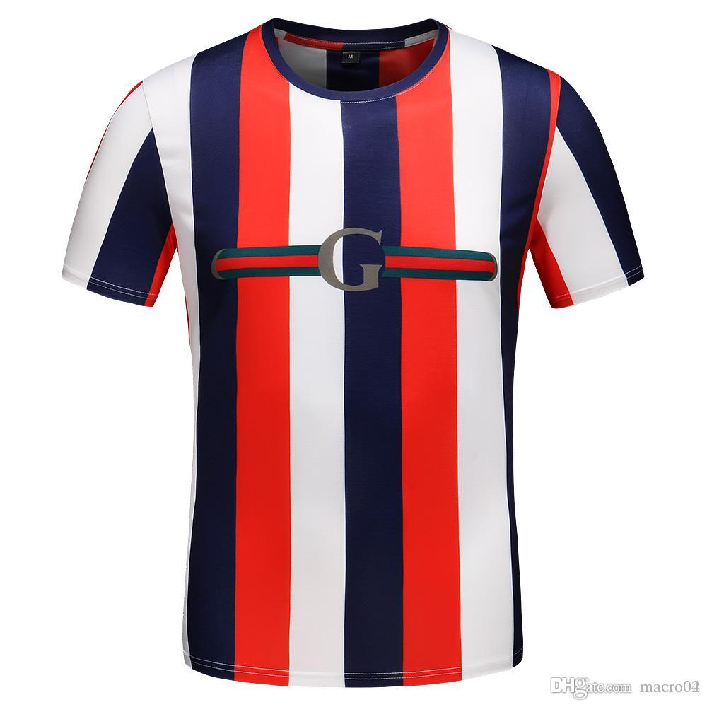 0b1c05040b4121 2019 Summer New Short Sleeved T Shirt European And American Fashion Men Hip  Hop High Quality Red White Blue Vertical Striped Shirt T Shirt Shirts  Design ...