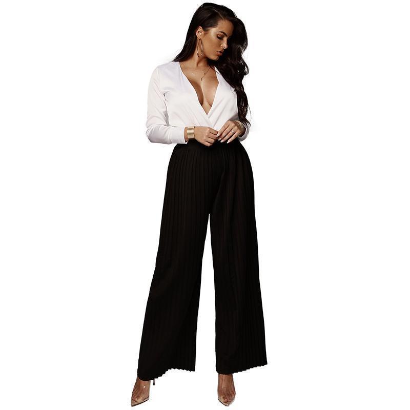 dc1bb1d100 2019 Fashion Women Wide Leg Pants High Elastic Waist Pantalon Femme Solid  Color Pleated Loose Elegant Autumn Ladies Trousers 2019 From Jamie17, ...