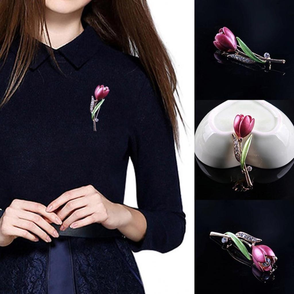 60f8626167dc Acquista Elegante Spilla A Tulipano Da Donna Con Decorazione Di Strass E  Spilla A Forma Di Fiore A  7.18 Dal Catastrophe