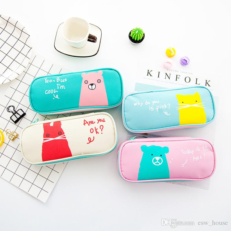 Animal Pencil Case Multifunctional Cartoon Letter Stationery Bag Oxford Cloth Animal Student Pencil Bag School Supplies