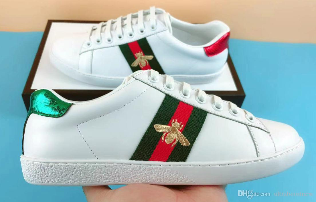 d540e0a39 2019 NEW Luxury Designer Ace Shoes Men White Tape Leather Women Casual  Brand Sneaker Green Red Stripe Embroidery Pearl Snake Tiger Size 35 49 From  ...