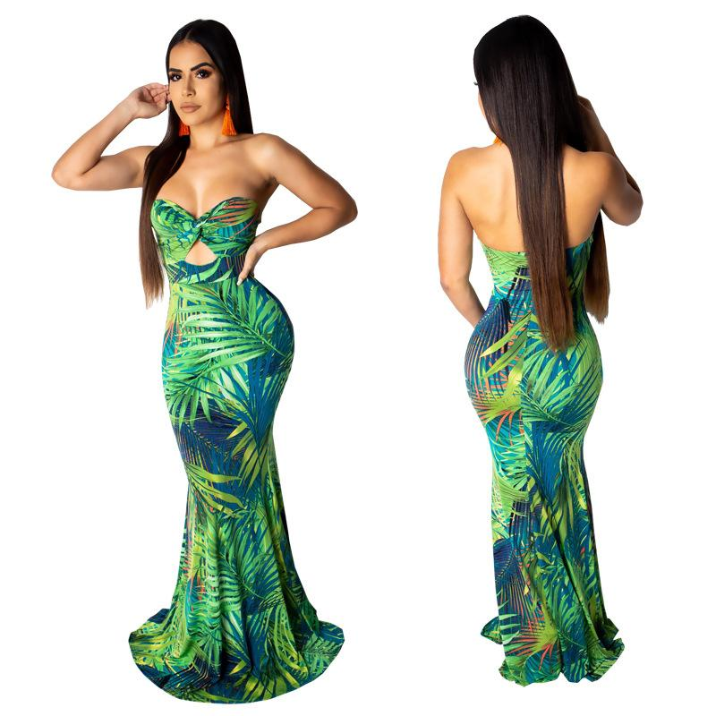Mulheres strapless sereia longo dress backless folha impressa verão beach party club noite sexy cut out maxi vestidos
