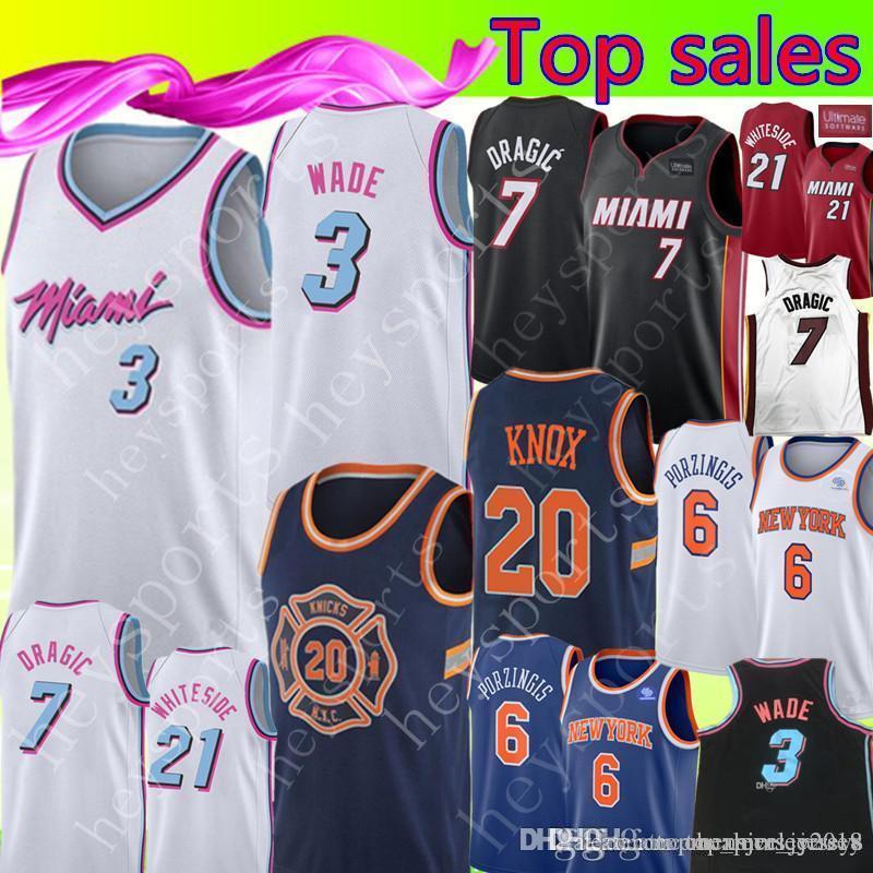 new products 70ef8 dd8bb Miami New Heat 3 Dwyane # Wade 7 GORAN # DRAGIC 21 HASSAN # WHITESIDE  Jersey New York Knox 20 Knicks 6 Porzingis Jerseys