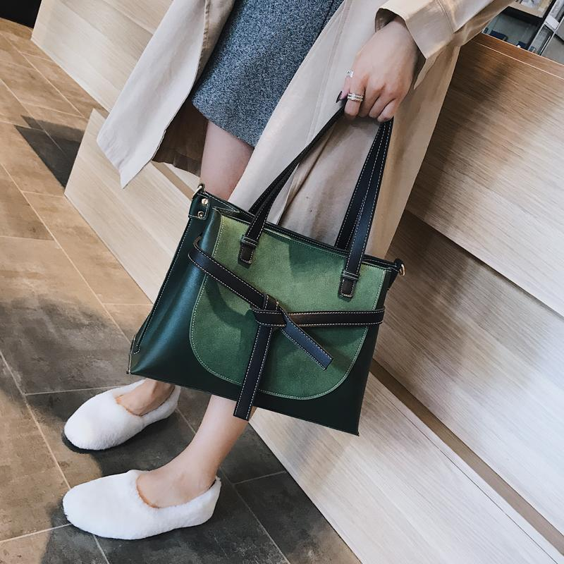 ab1f615f2df 2019 Winter Women's Bag Pu Leather Shoulder Bag Women Zipper Hit Color Handbag  Big Casual Totes Female Traval Bag For Girls 298