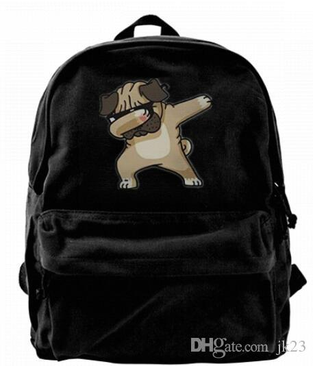 ffff2c0e8188 Dabbing Pug Funny Canvas Shoulder Backpack Cute Backpack For Men ...