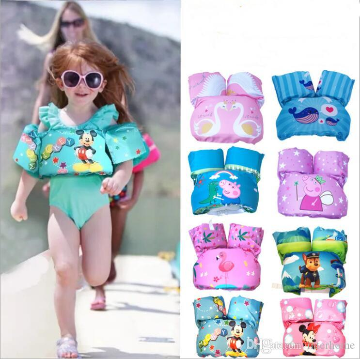 Kids Flamingo Lifejacket Baby Arm Ring Life Vest Floats Foam Safety Jacket Cartoon Pool Water Lifejacket Fashion Children Swimsuit LT1175