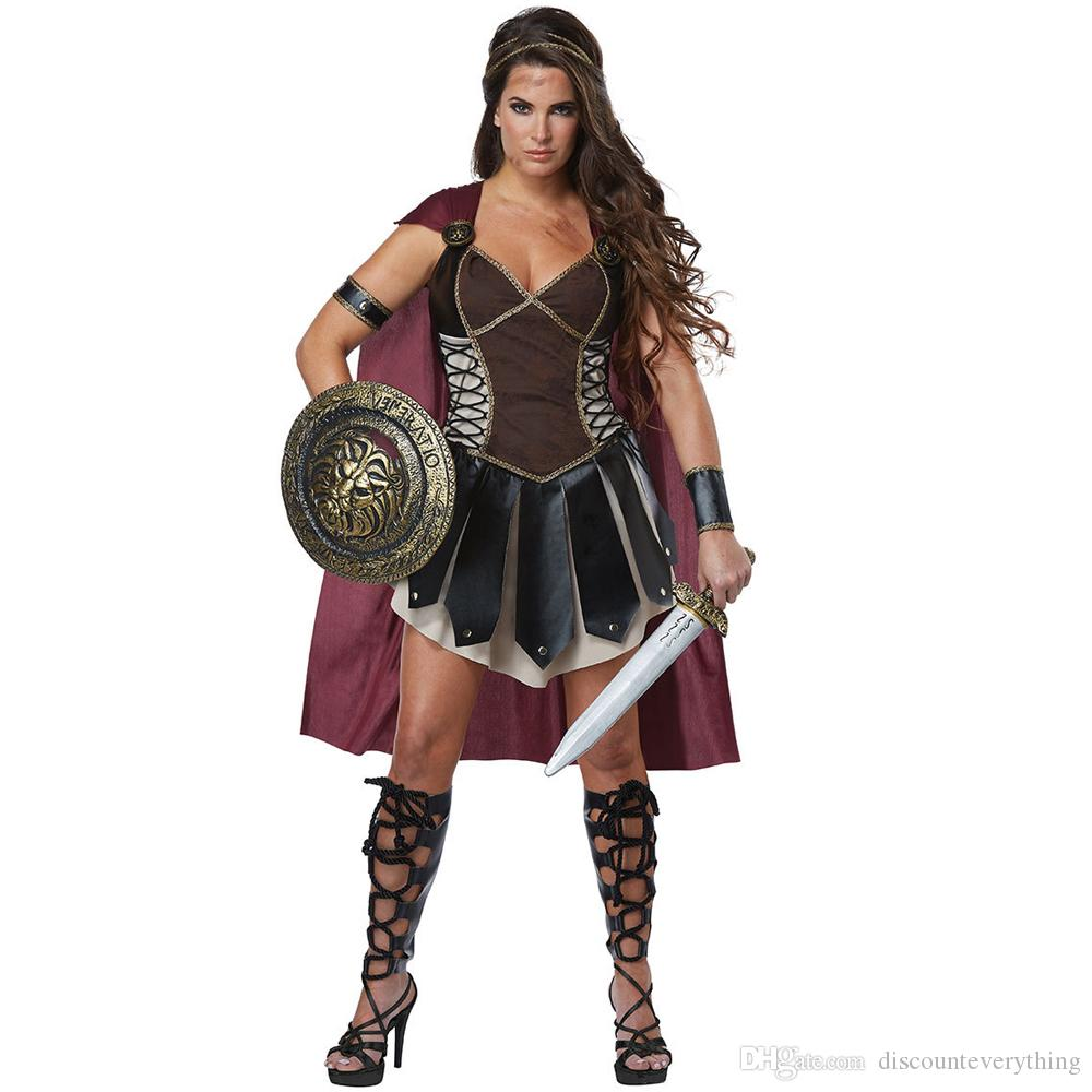 da0c081933 Adult Women Roman Princess Xena Gladiator Costume Halloween Carnival Party  Spartan 300 Warriors Soldier Cosplay Outfit Halloween Costumes For Couples  French ...